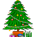 Christmas tree with gifts and garlands