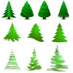different drawings of the Christmas tree